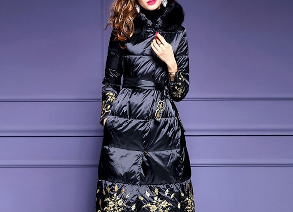 Winter Fall Fashion Womens Cothes Fur Hooded Embroidery Black Long Padded