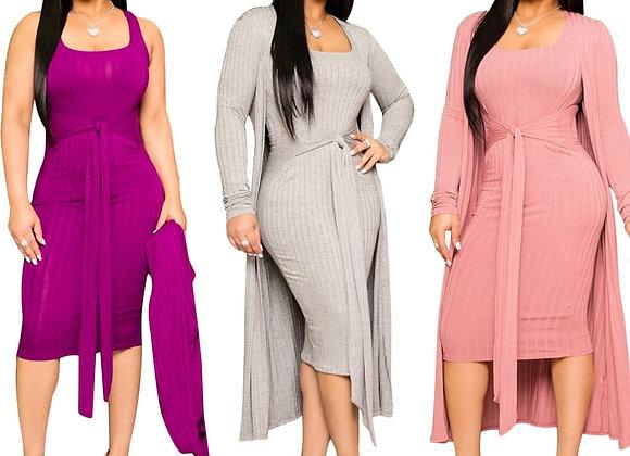 CM.YAYA Women Solid Color Knitted Sleeveless Bodycon Midi Knee Length Dress
