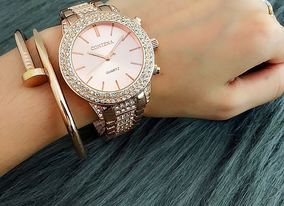 Contena Brand Laides WatchFashion Rhinestone Stainelss Steel Strap Band Watches