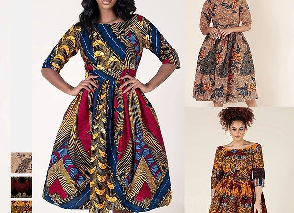 African Dresses for Women Dashiki Print Long Sleeve Hollow Out Back Dress Plus