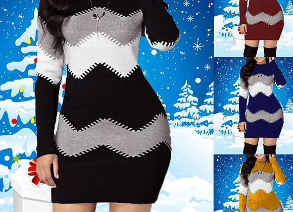 Bodycon Dress Women Autumn Winter Elegant Ladies Casual Knitted Patchwork Long