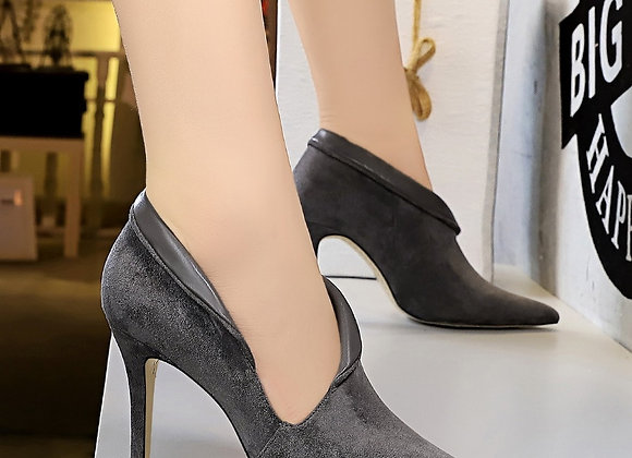 BIGTREE Fashion High Heel Women's Shoes Suede Pointed Thin Hollow
