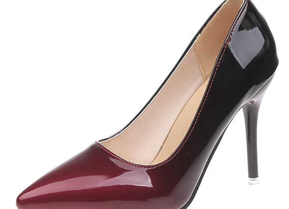 Aphixta Pointed Toe Women Thin Heel Shoes 10cm Heels Patent Leather Big Size 48
