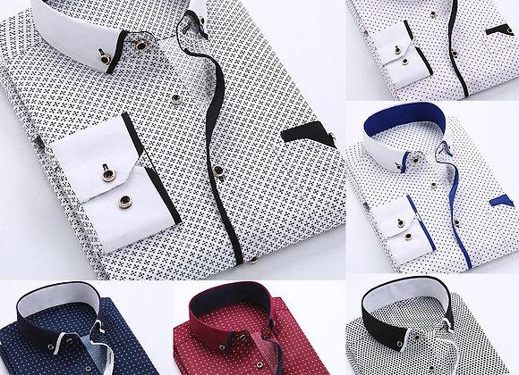 2020 Men's Fashion Business Men Plus Size Buttons Turn Down Collar Long Sleeve