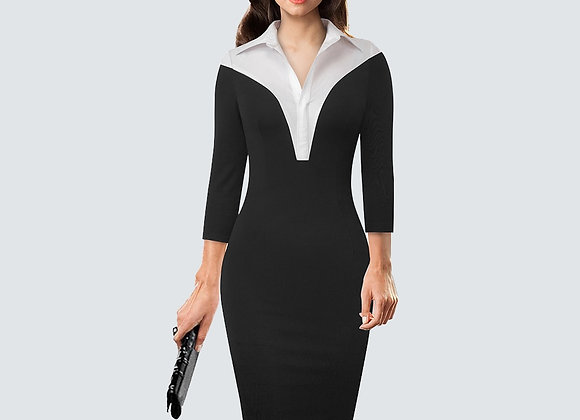 Formal One-Piece Work Business Office Lady Dress Casual Colorblock Turn-Down