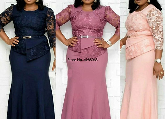 African Women O-Neck Polyester Plus Size Long Dress African Clothing African