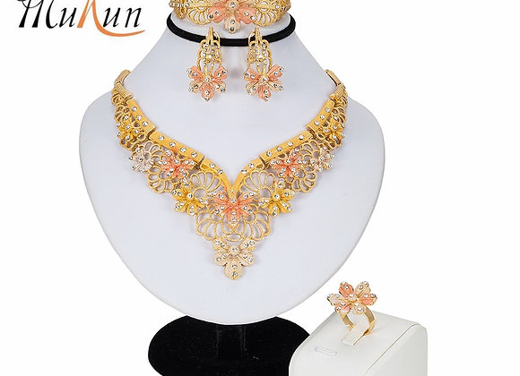 Dubai Gold Jewelry Sets for Women Crystal Leaf Shape Jewelry Classic Style