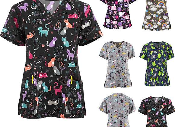 #A058 Women Short Sleeve V-Neck Tops Love Cat Print Working Uniform Cartoon