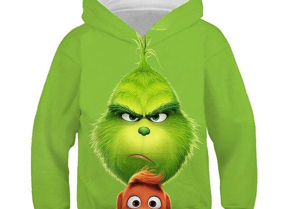 3D Green Print Grinch Hoodies Kids Clothes Autumn Christmas Winter Children's