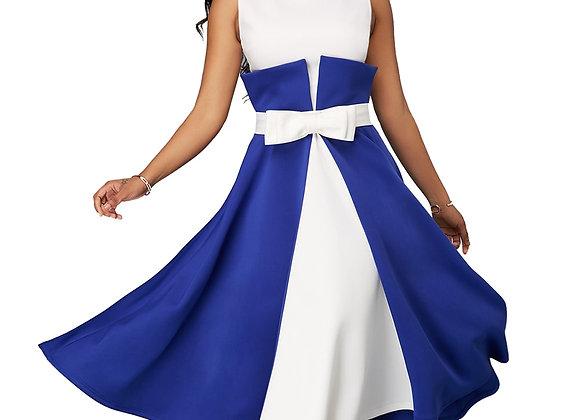 Casual Plus Size Slim Patchwork Color a Line Dresses Elegant