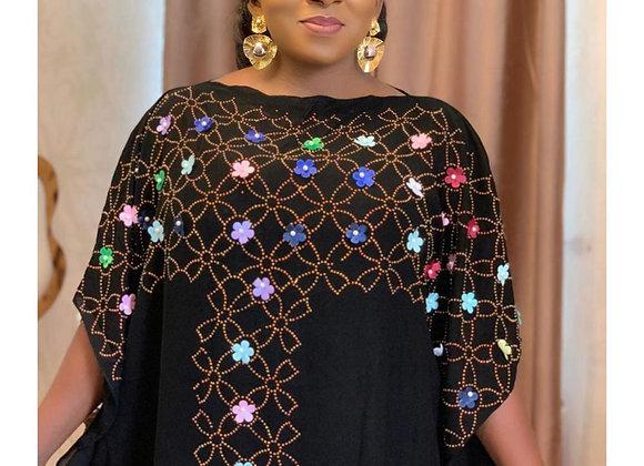 Chiffon Long Stick Diamond Free Size Sequin Dress for African Lady