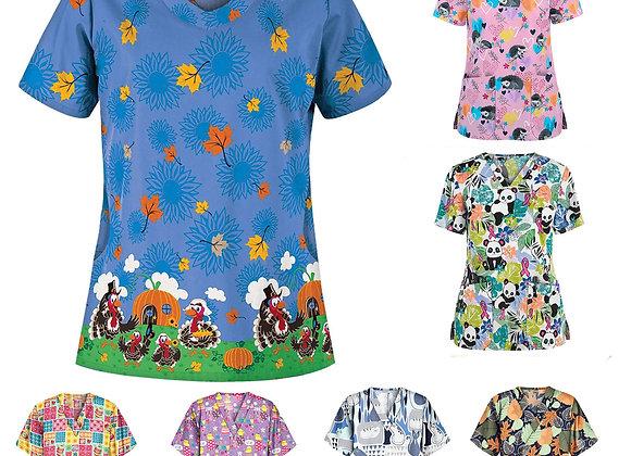 #2023 Women Short Sleeve V-Neck Tops Working Uniform Cartoon Print Blouse Blouse