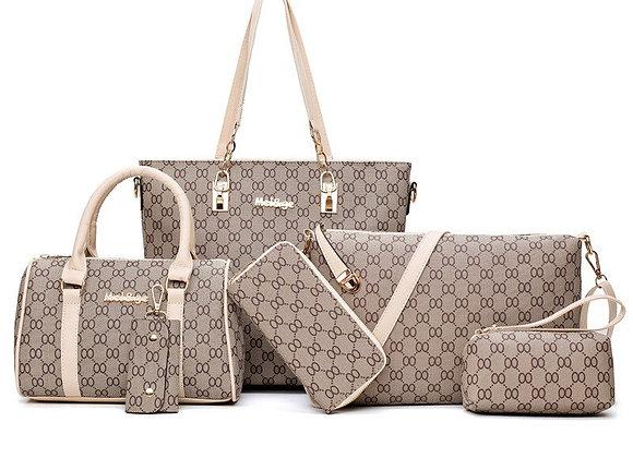 6PCS Women Tote Set Fashion PU Leather Ladies Handbag 8 Words Print Messenger
