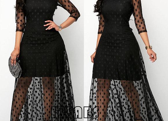 Black  Polka Dot Mesh Long Maxi Dress Summer Beach Ladies PatchworkTulle