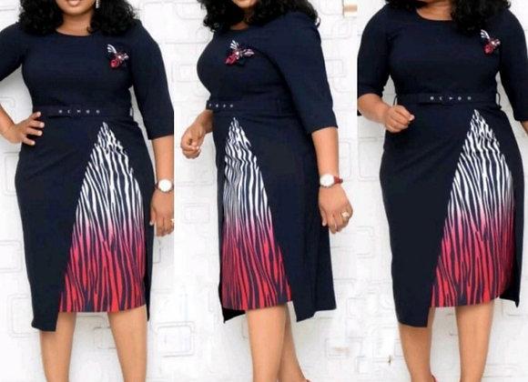 Autumn New Pencil Dresses Women 3/4 Sleeve Knee Length Slim Dress Stripes