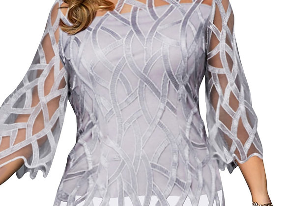 6XL Lace Shirts Top O-Neck Casual Translucent Sleeve T-Shirt Plus Size Tee Femal
