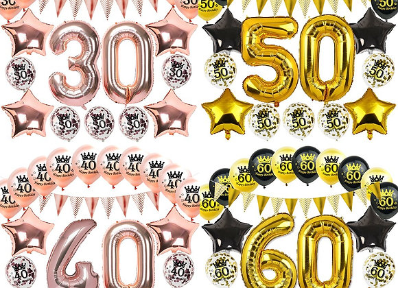 Birthday Inflatable Confetti Clear Balloons 16 18 21 30 40 50 60 70 80 90 Years