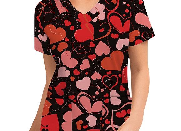 #AA21 Women Short Sleeve V-Neck Tops Working Uniform Valentine's Day Love
