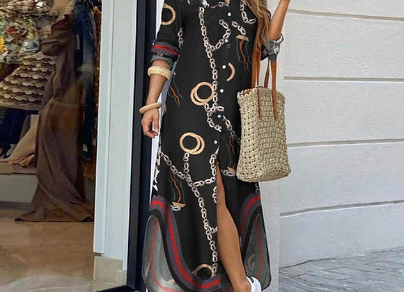 Fashion Women Long Sleeve Shirt Dress Autumn  Printed OL Long Dresses