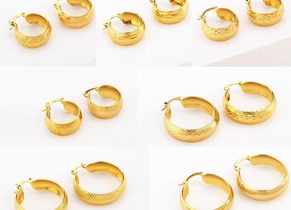 Earrings Arab Fashion 24K Hoop Earrings for Women Girls Gold Color Jewelry