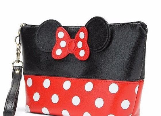 Disney New Mickey Bowknot Polka Dot PU Cosmetic Storage Bag Baby Girls Co