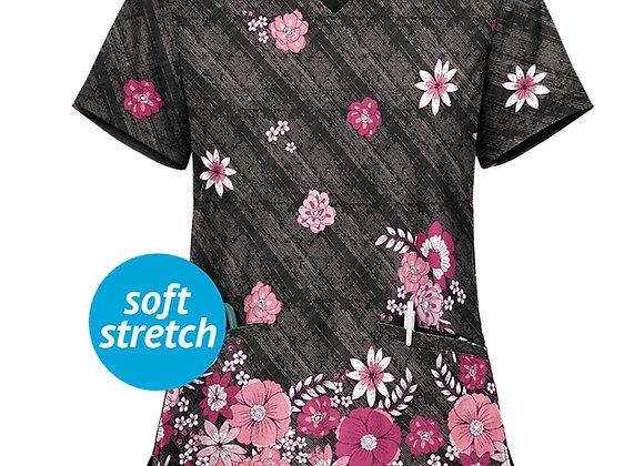 *AD67 Women Short Sleeve V-Neck Tops Working Uniform Flowers Print Blouse Women