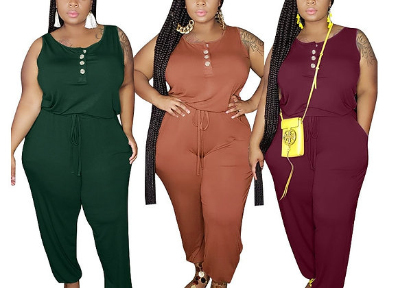 CM.YAYA Women Plus Size XL-5XL Solid Sleeveless O-Neck Jumpsuit Fashion Streetwe