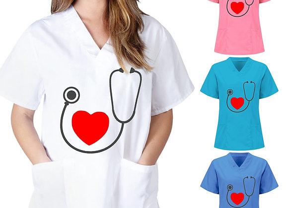 #AA09 Women Short Sleeve V-Neck Tops Nursing Working Uniform Heart-Shaped Po