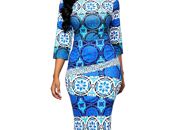 Casual Plus Size Slim Primitive Tribe Print Office Bodycon Dresses Elegan