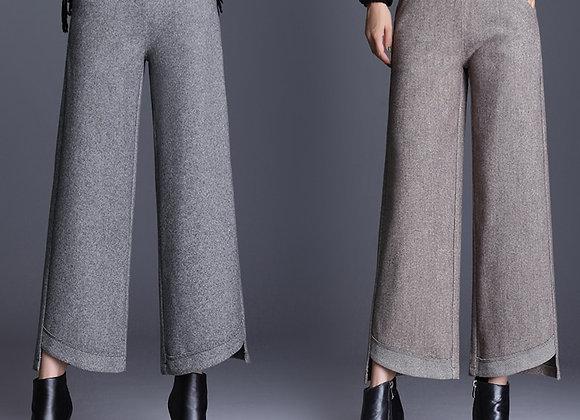 Autumn Winter Women Wide Leg Pants Plus Size High Waist Elegant Long Fashion