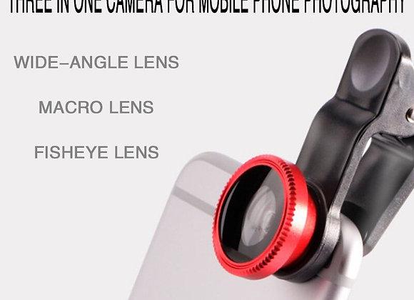 Fisheye Phone Lens Generic Camera for Phone 3 in 1 Wide Angle Fish Eye Lens