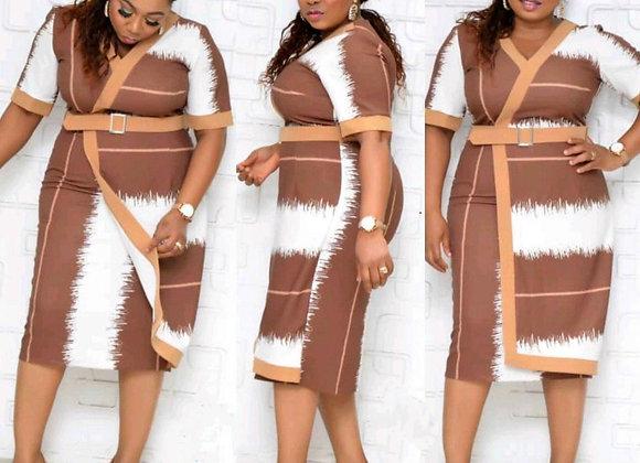 African Women V-Neck Short Sleeve Plus Size Knee-Length Dress  African Dress