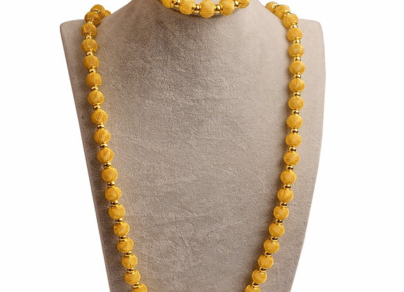 Anniyo 82cm Beads Necklace and 24cm Bracelets for Women Fashion Gold Color Ball