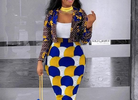 2 Piece Women Set Dashiki African Long Sleeve Two Piece Set Crop Top Suits Midi