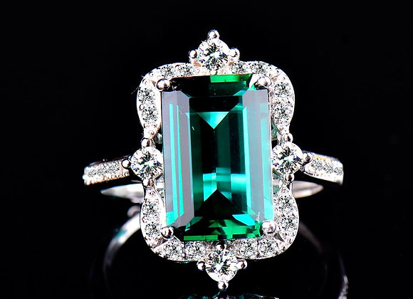 Emerald Crystal Rings for Women 925 Sterling Silver Jewelry Luxury Wedding Rings