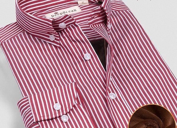 DEEPOCEAN Plus Velvet Thick Warm Shirt Men's Long-Sleeved Business Casual Cotton