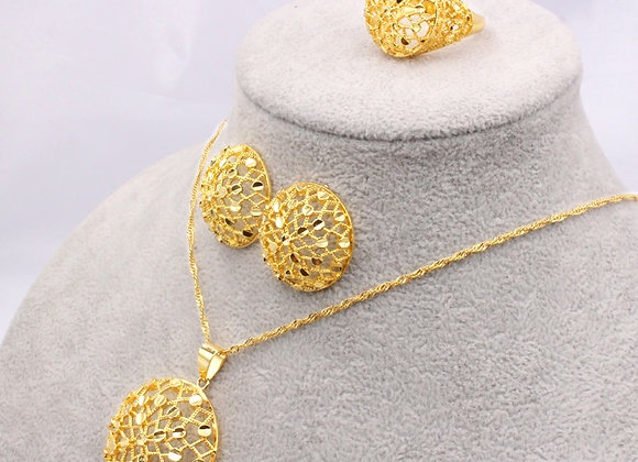 Ethiopia 24K Gold Color Dubai Jewelry Sets Women African Party Wedding Gift