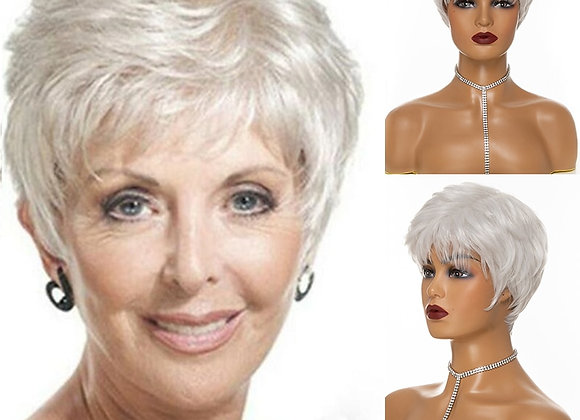 Dream.Ice's Hair Synthetic Hair Wig Woman Gray White Short Straight Heat