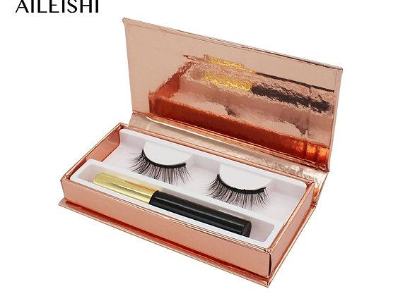 1 Pair 3D Natural Magnetic Eyelashes Set With Magnetic Liquid Eyeliner & Magneti