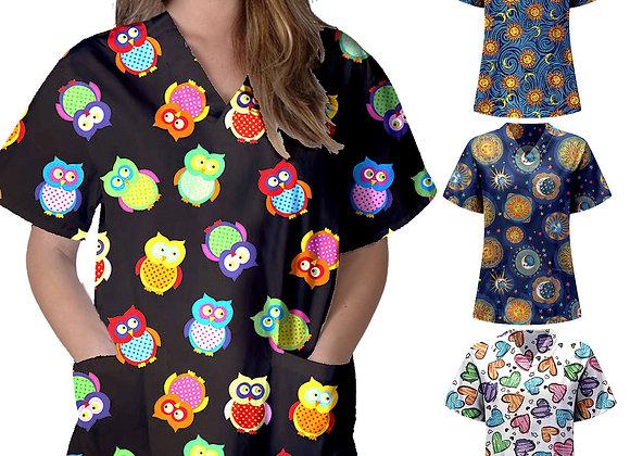 #AA098 Women Short Sleeve V-Neck Tops Nursing Working Uniform Cartoon Love