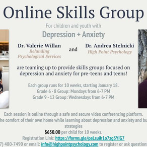 Online Coping Skills Group Starting January 18!