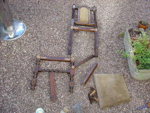 broken chair with bad joints.