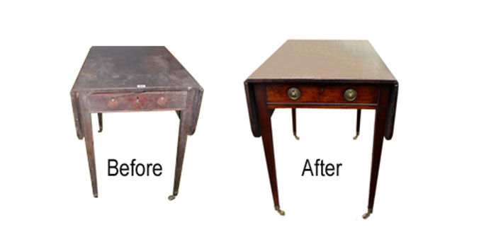 antique pembroke table before and after restoration