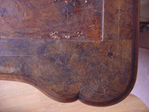 closeup of grimey daveport desk top