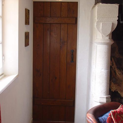narrow hand built oak door
