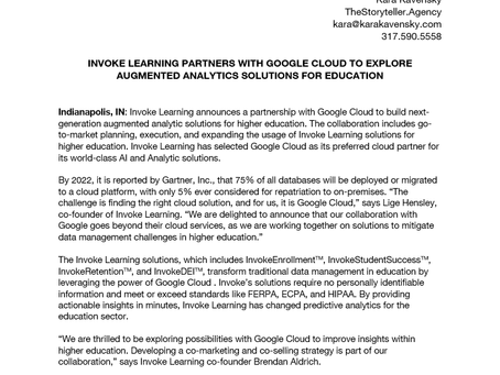 Invoke Learning Partners With Google Cloud To Explore Augmented Analytics Solutions For Education