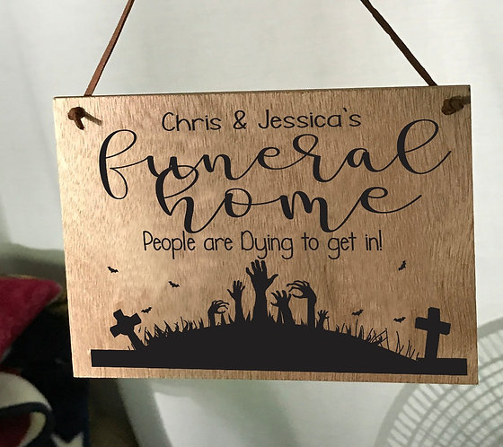 CUSTOMIZED Funeral Home 5X7 Oak Sign