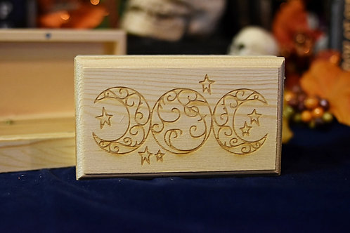 Wooden Box - Spiritual Triple Moon