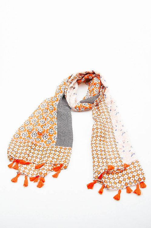 Foulard pompons paquerette orange