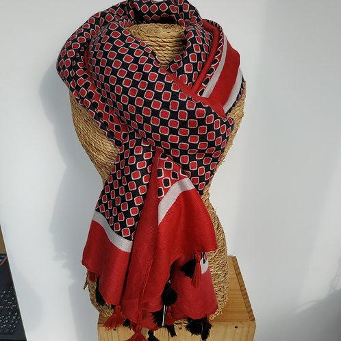Foulard pompon rouge et noir